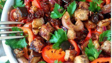 vegan aubergine pasta salad