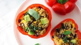 Vegan Quinoa Stuffed bell peppers