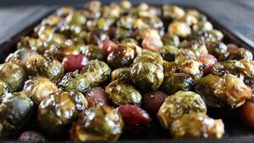 vegan brussels sprouts and red grapes