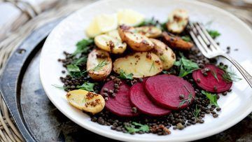 vegan lentil potato beet salad
