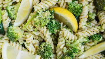 vegan lemon broccoli pasta salad