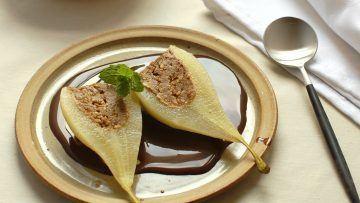 vegan almond stuffed pears