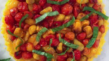 vegan sweet corn and cherry tomato tart