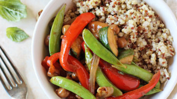 vegan bell pepper, snap pea and zucchini stir-fry