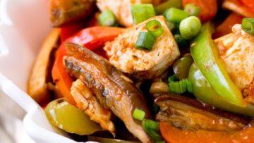 vegan eggplant and tofu in garlic tomato sauce