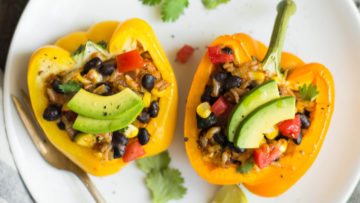 vegan mexican rice stuffed peppers