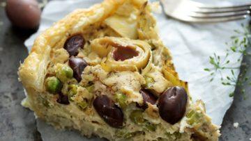 vegan olives and artichokes tart
