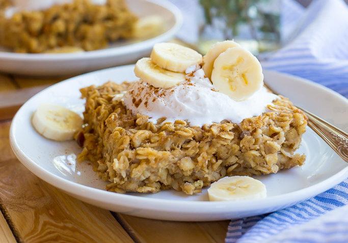 vegan peanut butter and banana oatmeal bake