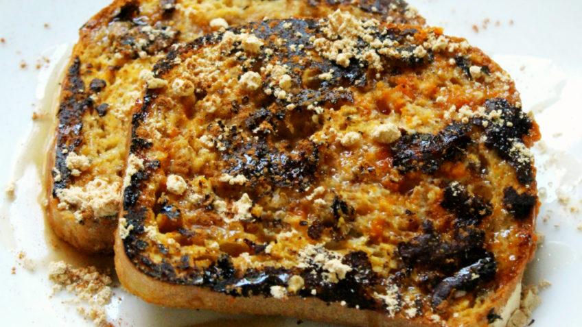 vegan peanut pumpkin french toast