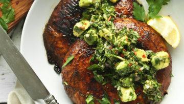 vegan portobello steaks with avocado chimichurri