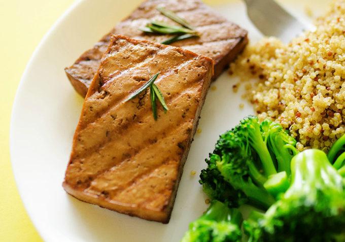 vegan rosemary coffee marinated tofu