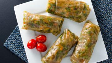 vegan teriyaki veggie spring rolls