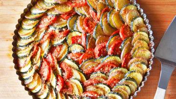vegan zucchini potato tomato casserole