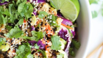 vegan asian quinoa salad with miso dressing