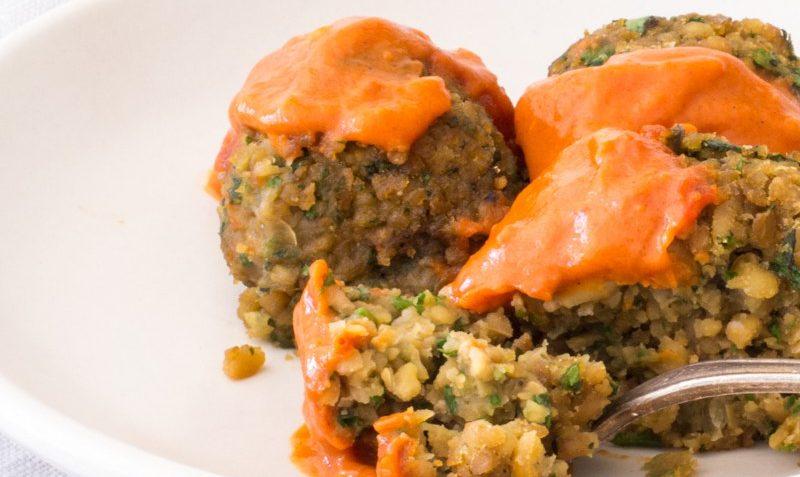 vegan baked falafel with moroccan saue