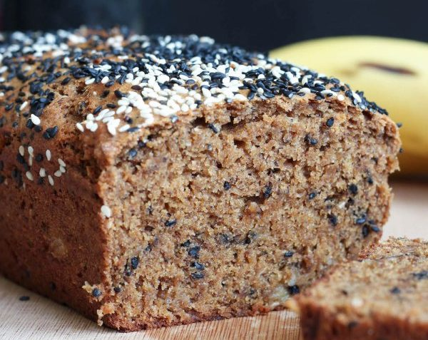 vegan black sesame tahini banana bread