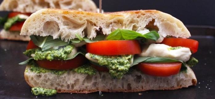 vegan caprese sandwich