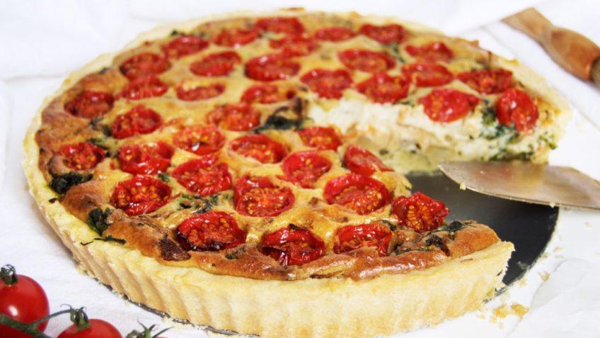 vegan cherry tomato and baby spinach quiche