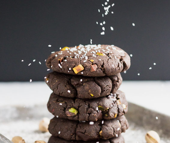 vegan chocolate chip cookies with pistachios and sea salt