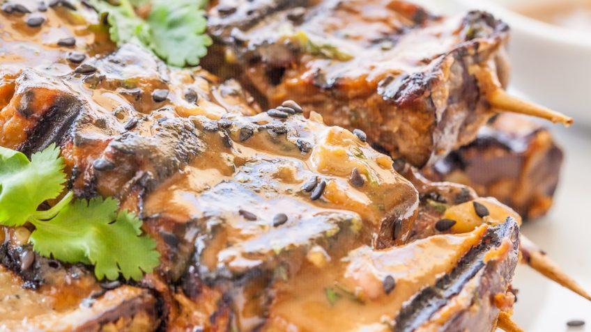 vegan eggplant tahini satay kebabs