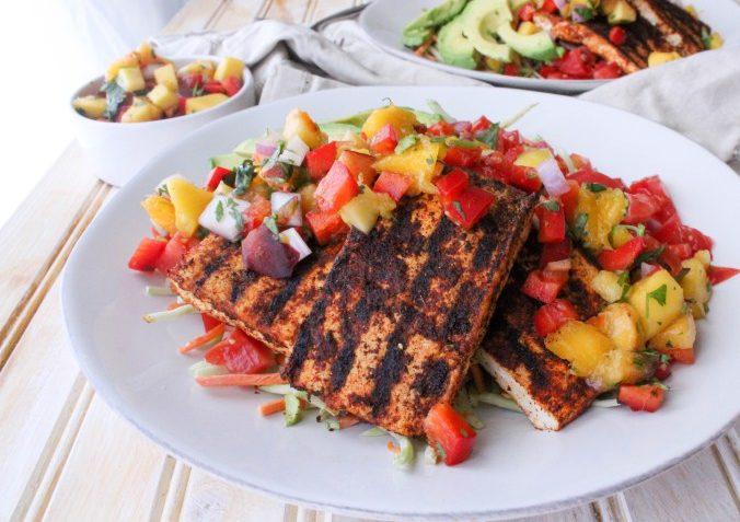 vegan grilled tofu taco salad with peach salsa