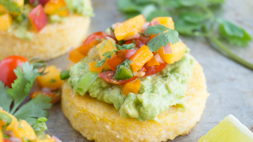 vegan polenta with peach cilantro salsa