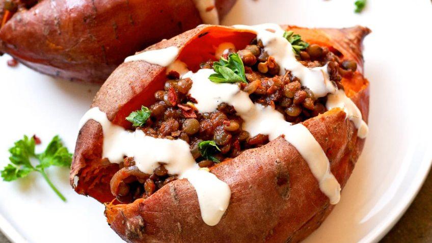 vegan stuffed sweet potatoes