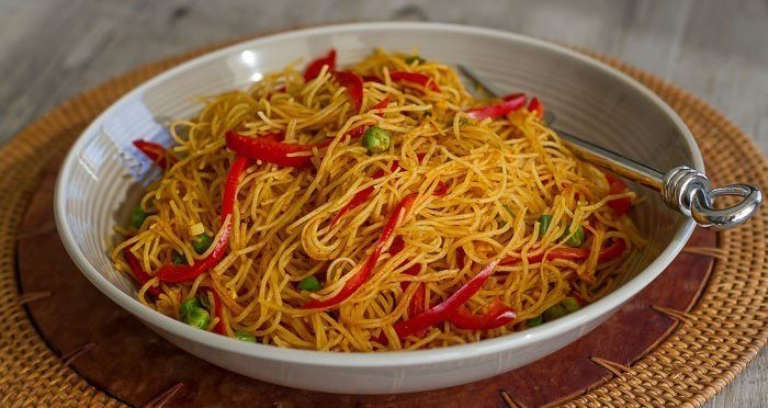 Vegan Curried Singapore Rice Noodles