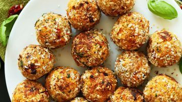 Vegan Chickpea Meatballs with Sun dried Tomatoes and Basil