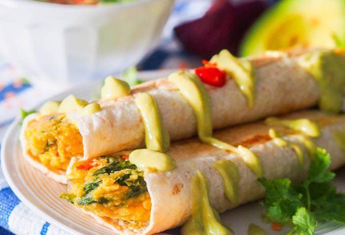 vegan taquitos with avocado crema