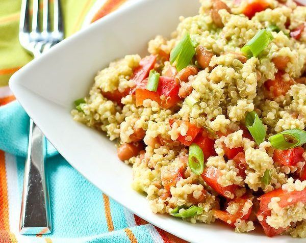 vegan quinoa salad with avocado dressing