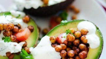 chickpea stuffed avocados