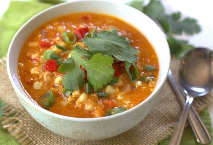 vegan thai red corn chowder