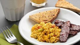Vegan bacon and eggs