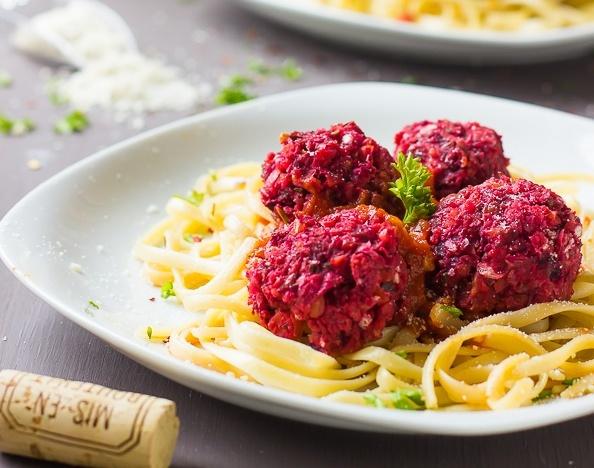 vegan chickpea beet meatballs