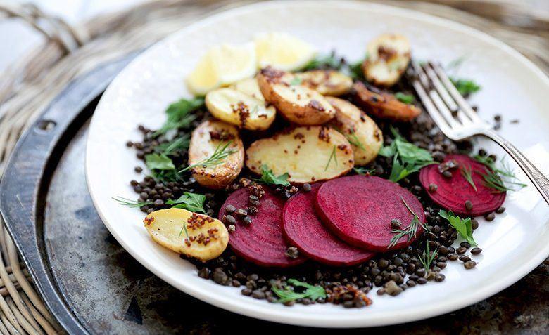 vegan lentil potato beet salad