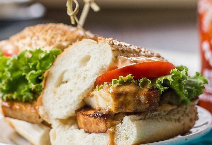 vegan baked peanut tofu sandwich