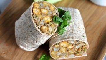 vegan curried cauliflower chickpea wraps
