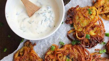 vegan onion bhajis