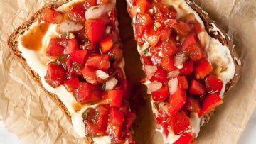 vegan red pepper bruschetta