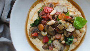 vegan vegetable cacciatore with polenta