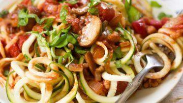 vegan walnut and mushroom zucchini noodles