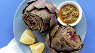 vegan artichokes with sun-dried tomato dip