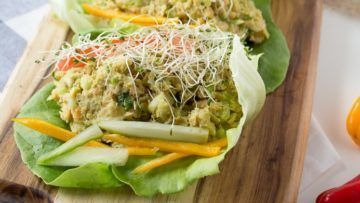 vegan avocado chickpea lettuce wraps