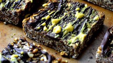 vegan cashew, chocolate and turmeric protein bars