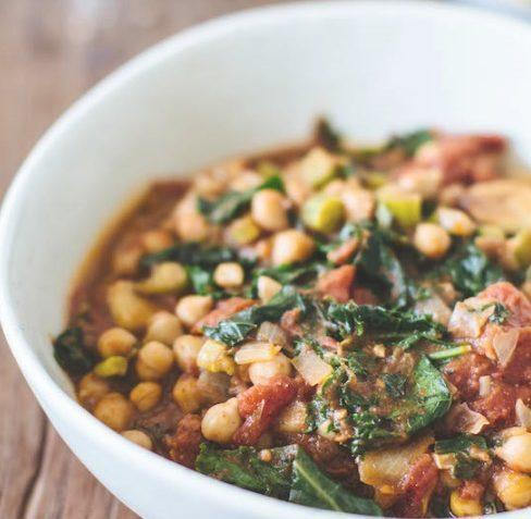 vegan chickpea and kale stew
