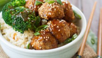 vegan ginger glazed tofu meatballs