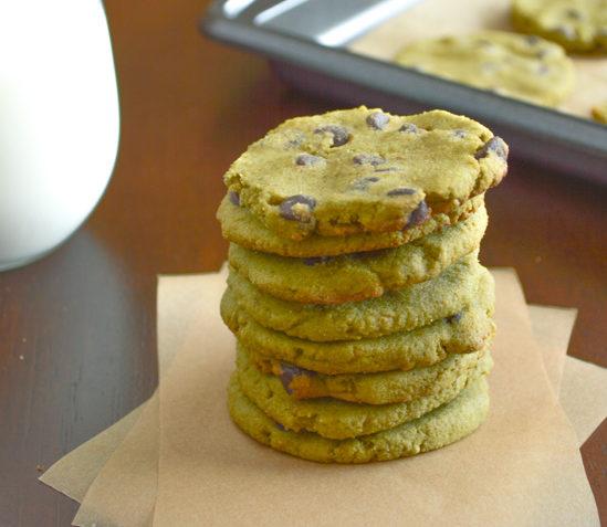 vegan green tea chocolate chip cookies