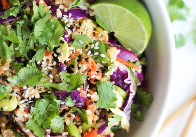 vegan asian quinoa salad with miso dressing