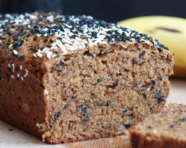 vegan black sesame tahini banana bread